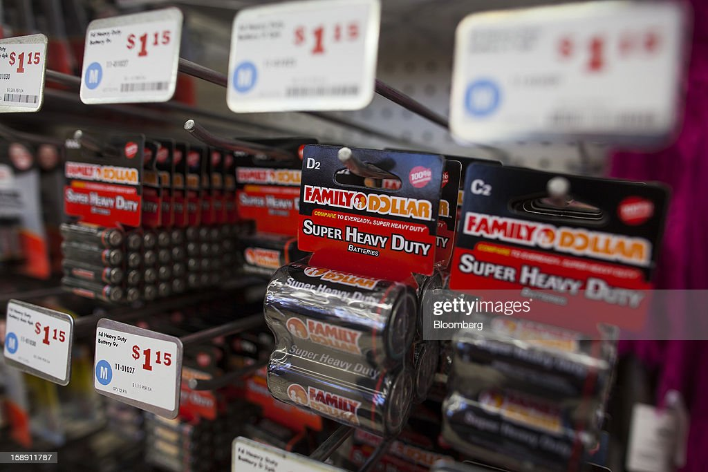 Family Dollar Stores Inc. brand batteries are displayed at a store in Belleville, New Jersey, U.S., on Thursday, Jan. 3, 2013. Family Dollar Stores Inc., the second-largest U.S. dollar store chain, tumbled the most in more than 12 years after cutting its fiscal 2013 earnings forecast, saying consumers are reluctant to spend on more-profitable discretionary items. Photographer: Michael Nagle/Bloomberg via Getty Images