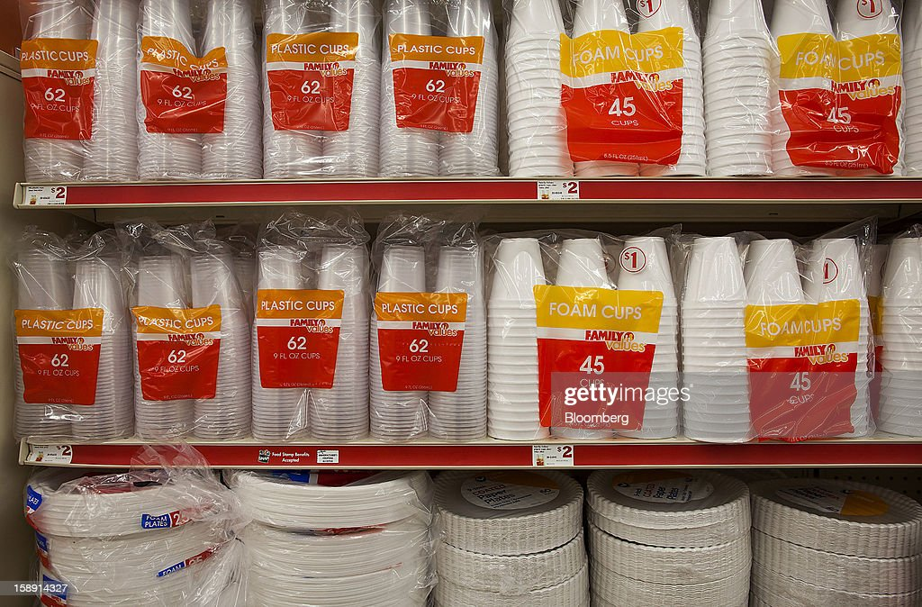 Family Dollar Stores Inc. brand disposable cups and plates are displayed at a store in Belleville, New Jersey, U.S., on Thursday, Jan. 3, 2013. Family Dollar Stores Inc., the second-largest U.S. dollar store chain, tumbled the most in more than 12 years after cutting its fiscal 2013 earnings forecast, saying consumers are reluctant to spend on more-profitable discretionary items. Photographer: Michael Nagle/Bloomberg via Getty Images