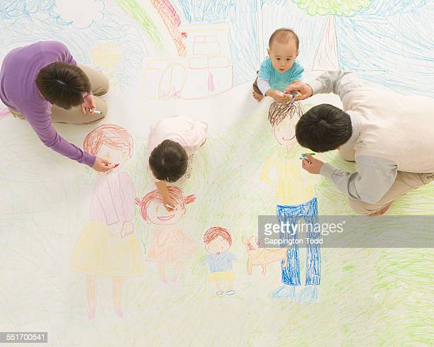 Family Drawing On Floor