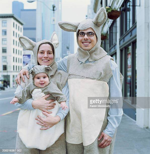 Family dressed in kangaroo costumes, downtown Seattle, USA