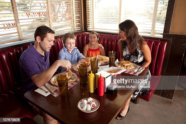 Family eat at a diner