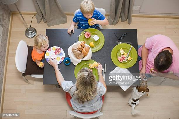 Family eating at dinner table