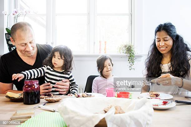 A family eating breatfast together