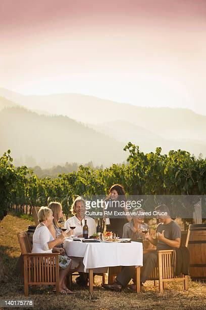 Family eating dinner in vineyard