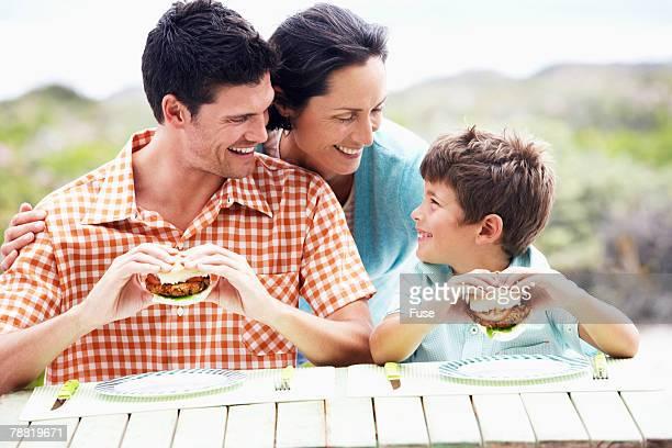 Family Eating Hamburgers