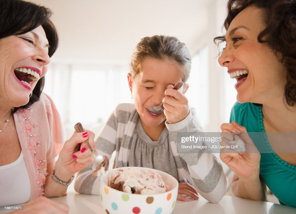 Family eating ice cream together