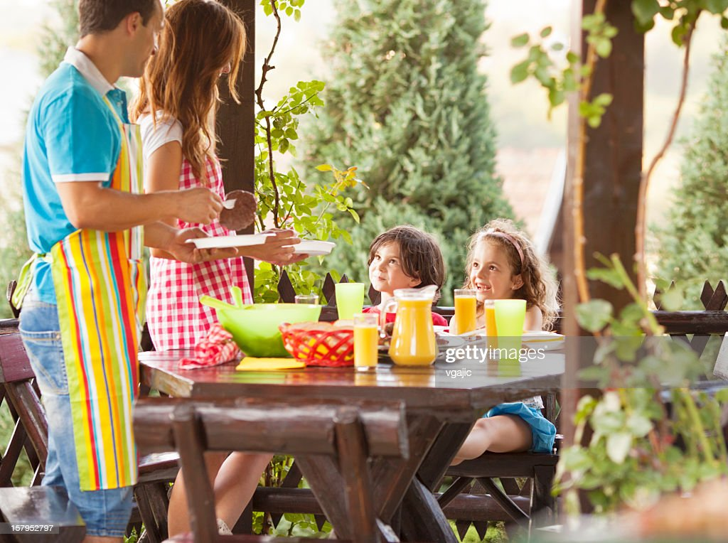 Family Eating Outdoors. : Stock Photo