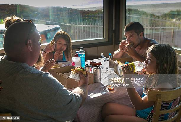 A family eats dinner at the famed Jalama Beach Cafe on August 9 in Jalama Beach California Because of its close proximity to Southern California and...