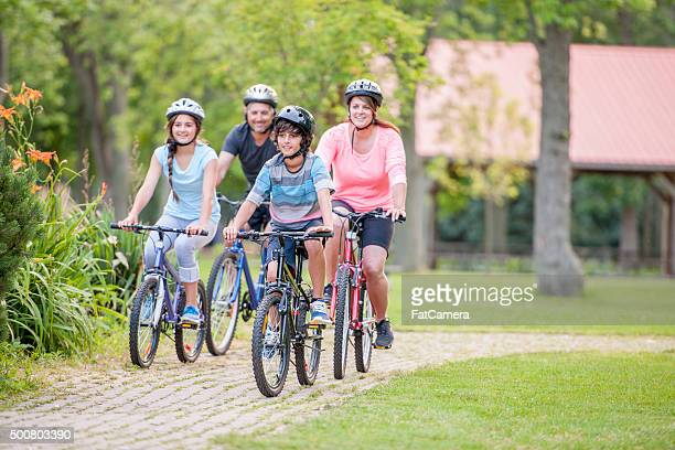 Family Enjoying a Bike Ride Together
