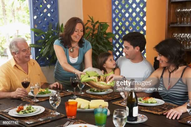 Family enjoying healthy lunch