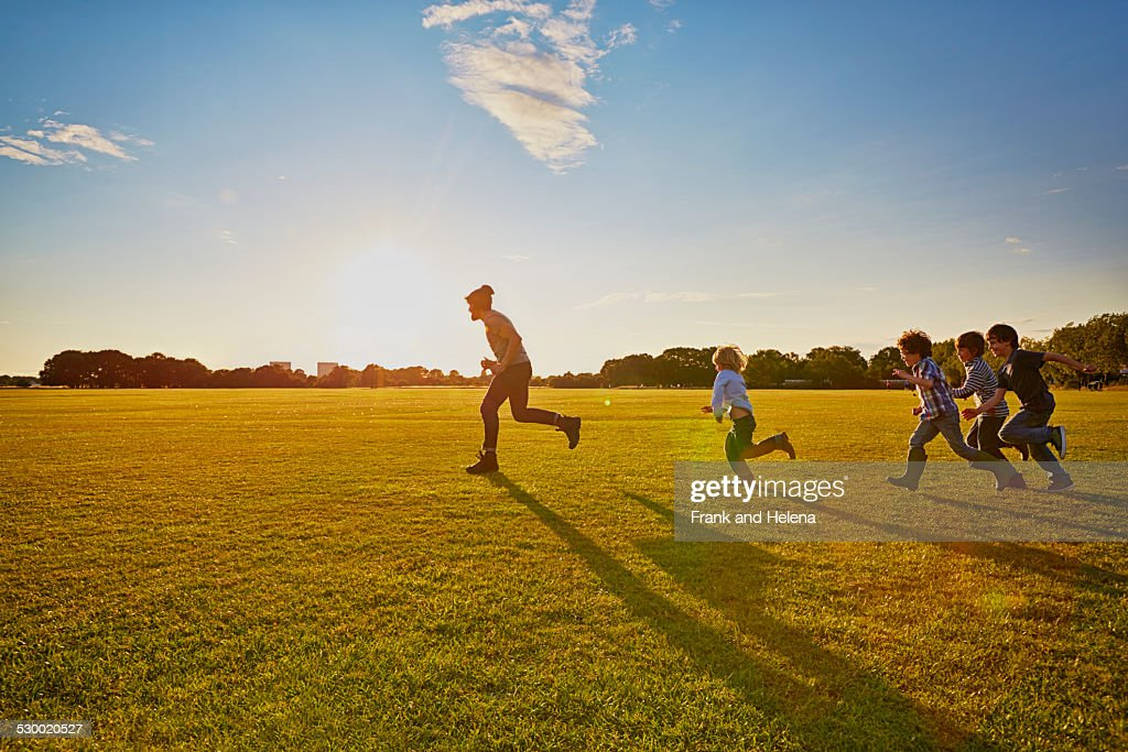 Family enjoying outdoor activities in the park