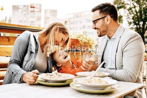 Family enjoying restaurant : Stock Photo