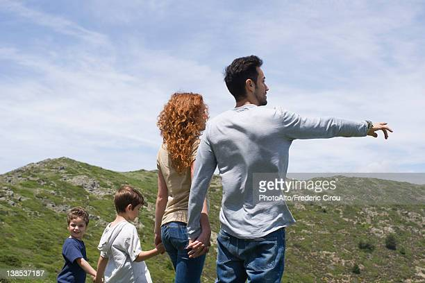 Family enjoying scenic mountain view, rear view
