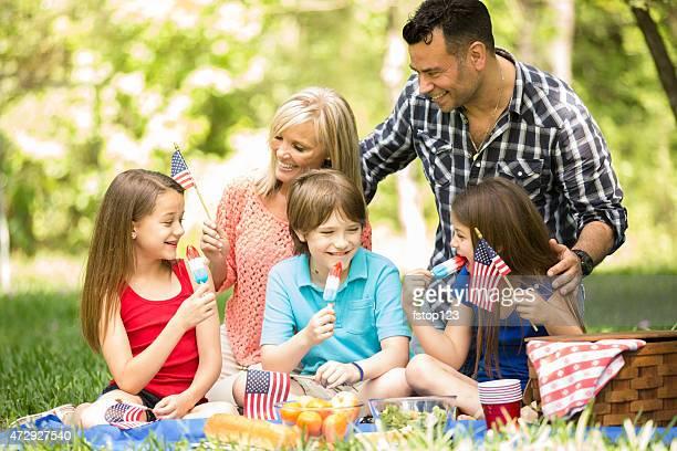 Familia disfruta de 4 de julio de un picnic en temporada de verano.   American flags.
