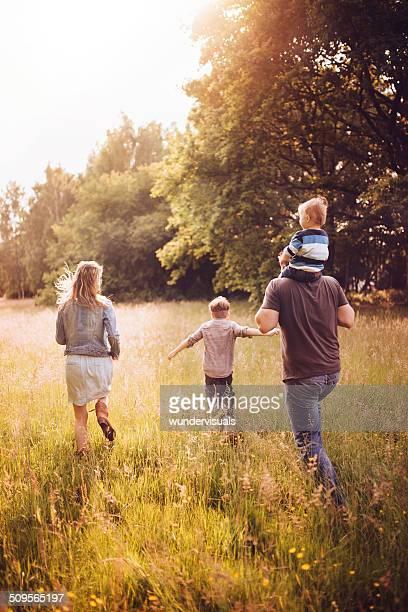 family exploring park