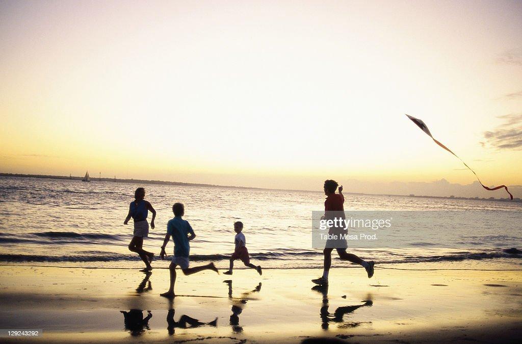Family flying kite at sunset, Sullivan's Is, SC : Stock Photo