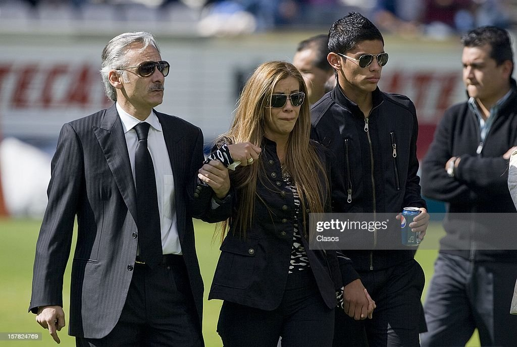 Family, friends and fans give their last goodbye to the ex-Pachuca goalkeeper during the funeral mass of Miguel Calero in Huracan Stadium on December 6, 2012 in Pachuca, Mexico.