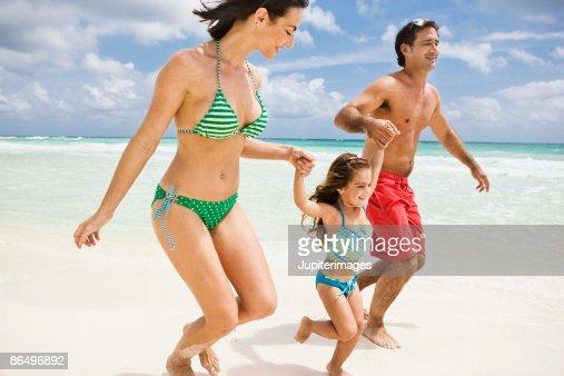 Family fun at the beach : Stock Photo