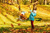 Boy and Jack Russell Terrier jumping and catching falling leaves