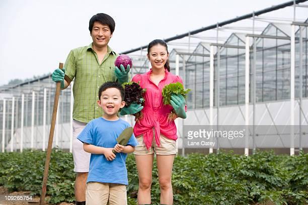 Family gardening in farm