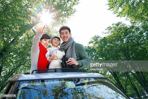A family go outing by car