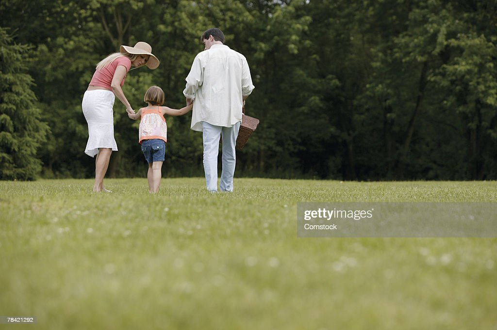 Family going on a picnic : Stock Photo