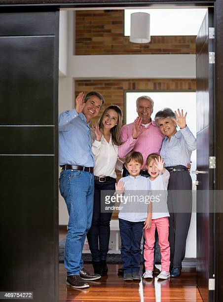 Family greeting at the door