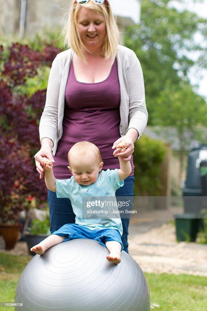 Family gymnastics : Stock Photo