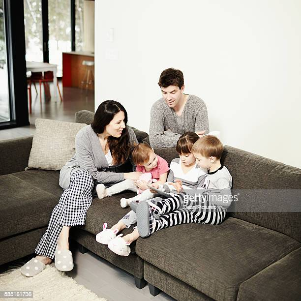 Family hanging out in living room