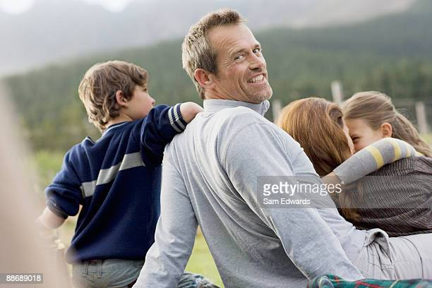 Family hanging out together outdoors
