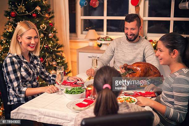 Family Have a Traditional Holiday Dinner