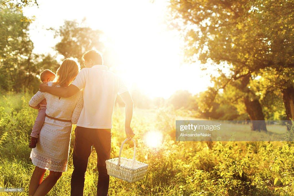 Familia tener un picnic en un campo con mucha luz : Foto de stock