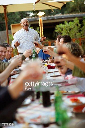 Family Having Banquet Dinner