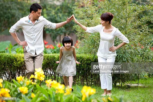 Family having fun in a common community