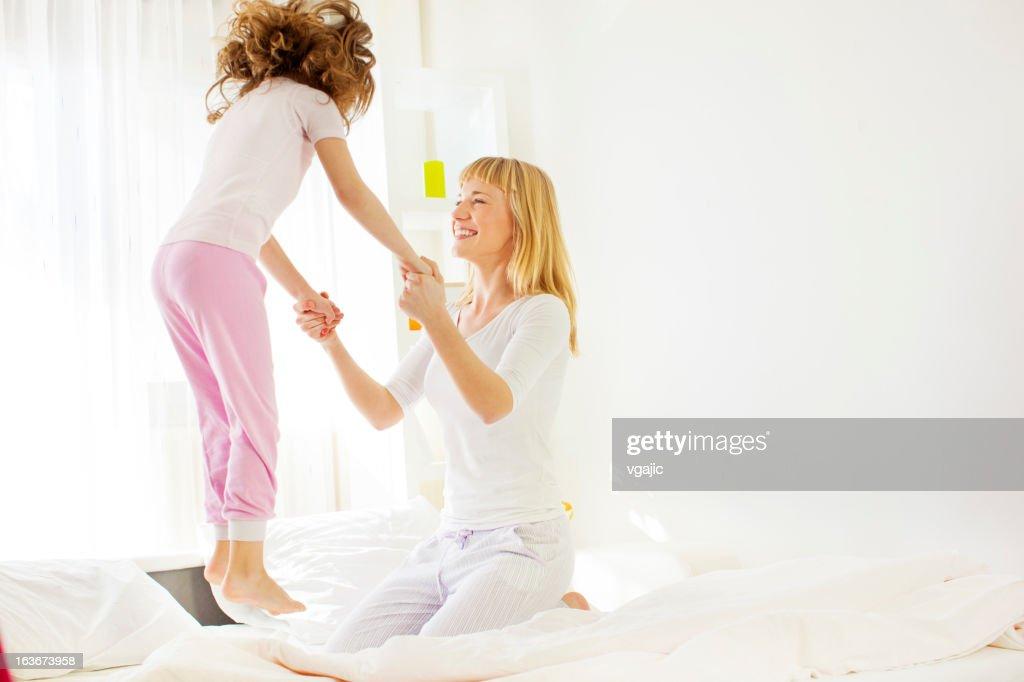 Family Having Fun in Bed. : Stock Photo