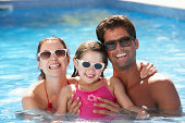 Family Having Fun In Swimming Pool