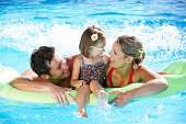 Family On Holiday In Swimming Pool Smiling And Laughing.