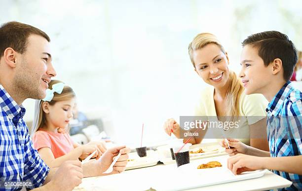 Family having lunch.