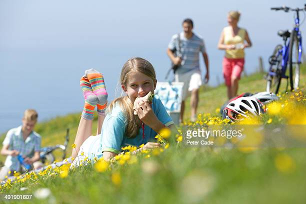Family having picnic after bike ride