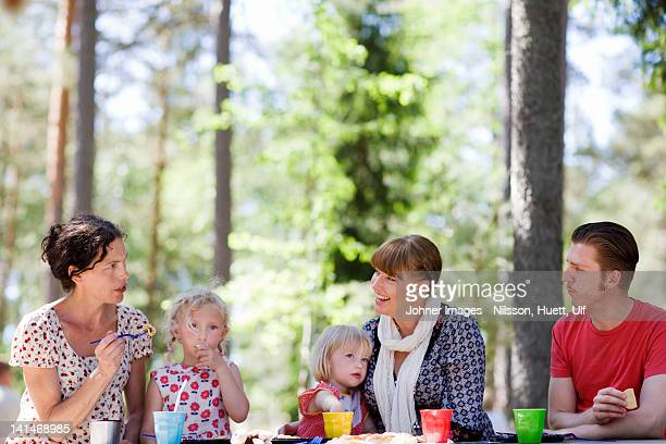 Family having picnic at zoo