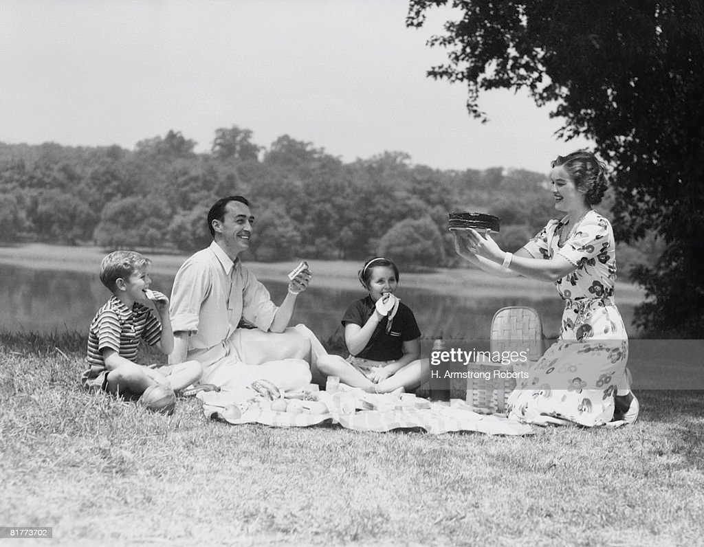 Family having picnic by lake, mother holding up cake, smiling. : Stock Photo