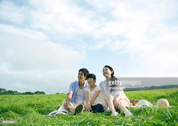 Family having picnic in field