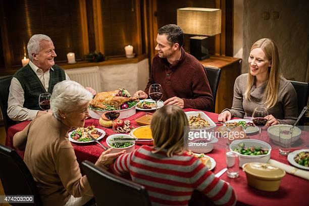 Family having Thanksgiving dinner