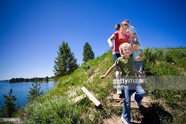 Family Hike by the River, Yellowstone National Park. .