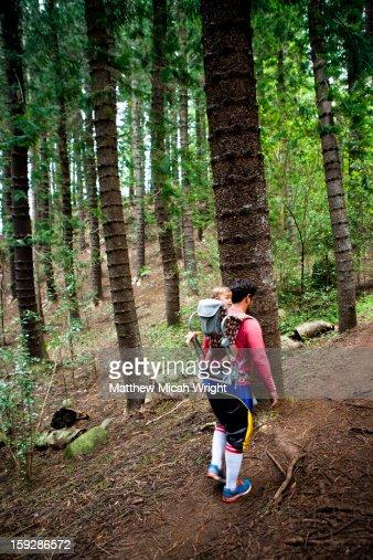 A family hikes through Norfolk pine trees : Stockfoto