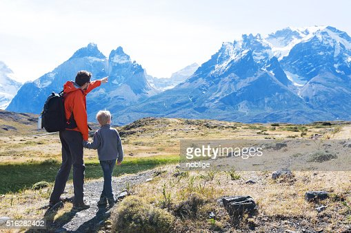family hiking in patagonia : Stock Photo