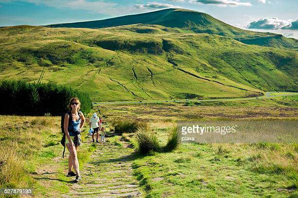 Family hiking in Welsh mountains