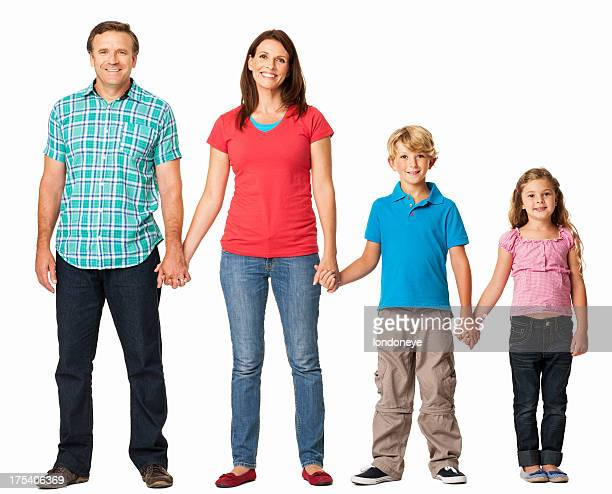 Family Holding Hands in a Line - Isolated