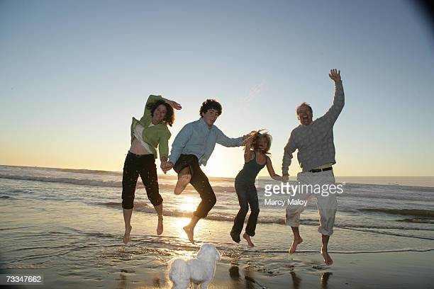 Family holding hands, jumping on beach