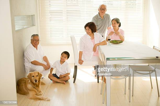 Family in a dining room